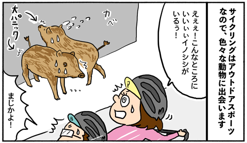 【四コマ漫画】こんなに沢山出会えるなんて!アウトドアスポーツなサイクリングあるある