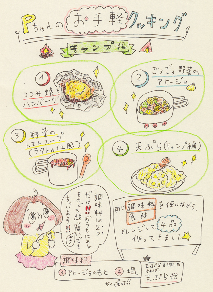 【キャンプ飯編】包丁も使わずに調味料は2つだけで4品!〜Pちゃんのお気軽クッキング〜