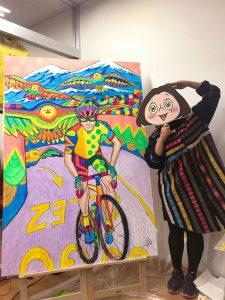サイクルジム&カフェバー三ノ輪での個展でおこなったライブペイント映像公開!自転車アート作品はこれだ^^