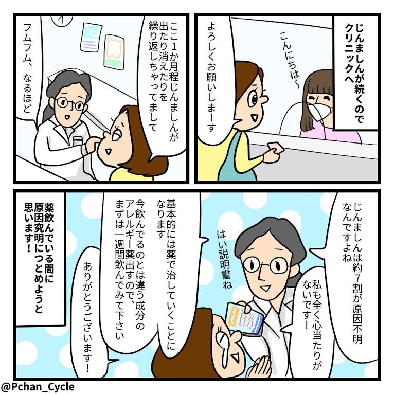 TwitterやInstagramに投稿しているPちゃんの日常4コマ漫画まとめ8<全10話>じんましんで病院にGO